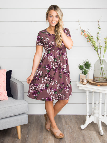 A Dream Of My Own Floral Dress - Purple