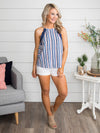 Take A Sip Stripe Lace Tank - Blue