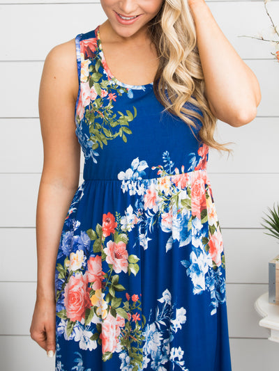 Coast To Coast Floral Maxi Dress - Royal Blue