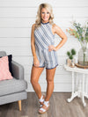 Sweet Like Sunshine Stripe Romper - Dusty Blue