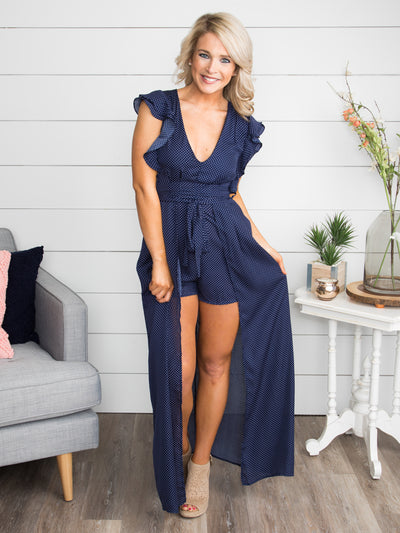 At The End Of The Night Polka Dot Maxi Romper - Navy