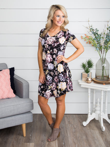 It's Up To Us Floral Dress - Black