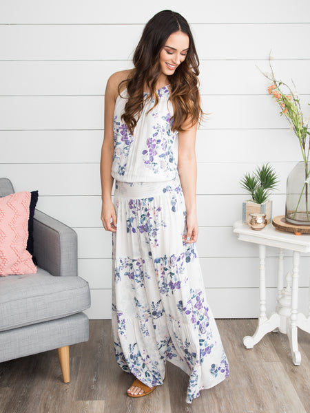 Barcelona Babe Floral Maxi - Off White