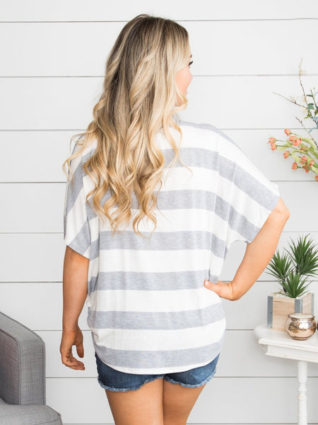 Miles Away Stripe Knot Top - Grey