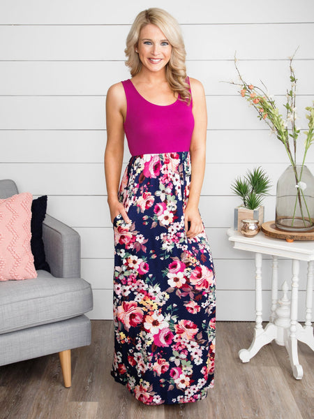 The One I Belong To Floral Maxi - Magenta