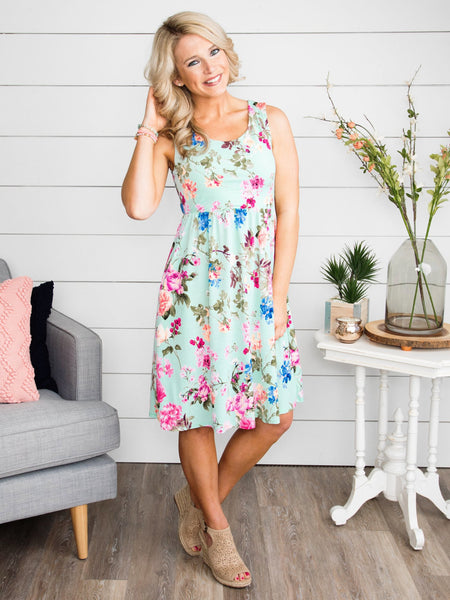 After All This Time Floral Dress - Mint