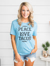 Peace Love Tacos Graphic Tee - Light Blue