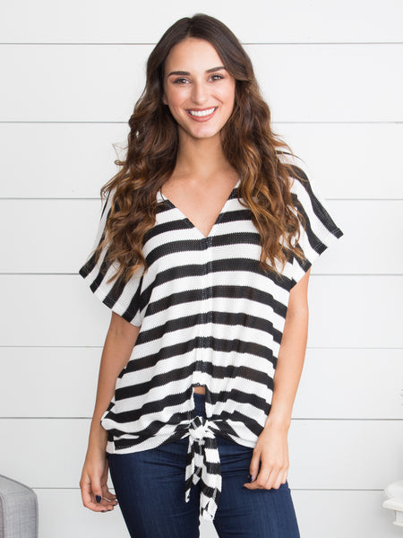Focus On My Dream Stripe Knot Top - Black