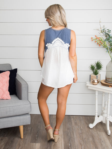All Those Times Stripe Lace Tank - Blue