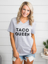 Taco Queen Graphic V-Neck - Grey