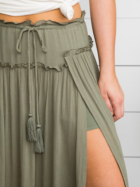 Dream Lover Maxi Skirt - Olive