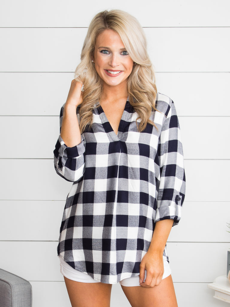 A Chance For You Plaid Top - Navy