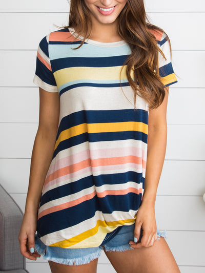 Hyde Park Stripe Knot Top - Navy