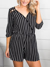 My First Crush Stripe Romper - Black