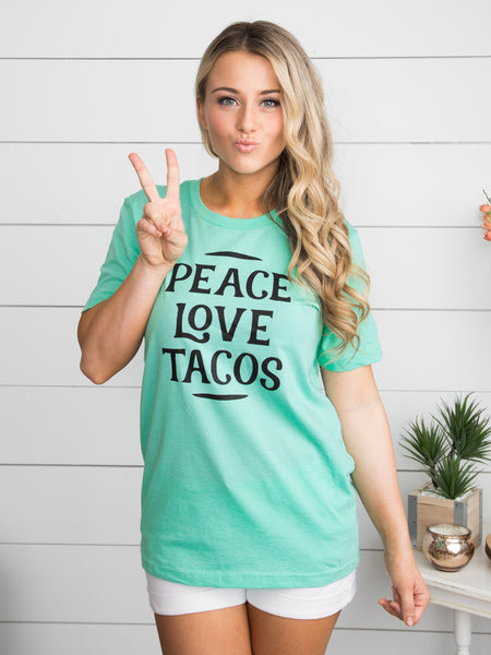 Peace Love Tacos Graphic Tee - Mint
