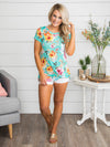 My Summer Spot Floral Knot Top - Aqua