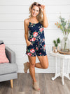 It's You Over Everyone Floral Romper - Navy