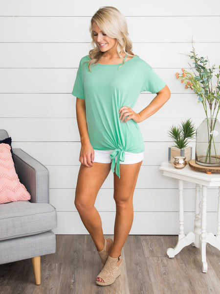 Something To Talk About Criss Cross Knot Top - Mint