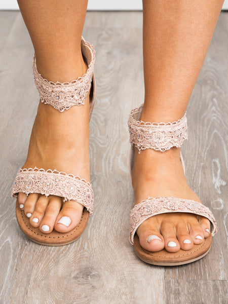 Shala Lace Beaded Sandal - Blush