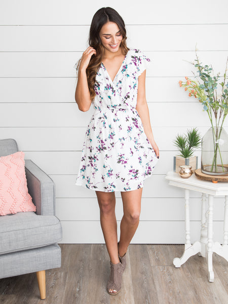 I Can't Help Myself Floral Ruffle Dress - Off White