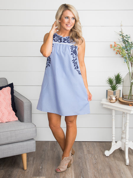 Dreams We Share Embroidered Stripe Dress - Lt Blue