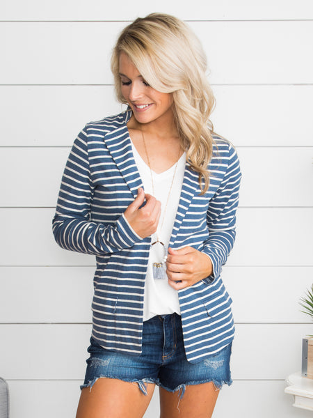 Music City Stripe Blazer - Blue