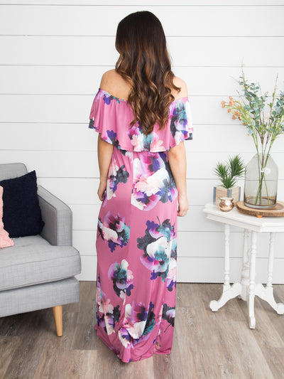 Tropical In Tulum Off-The-Shoulder Floral Maxi - Soft Orchid