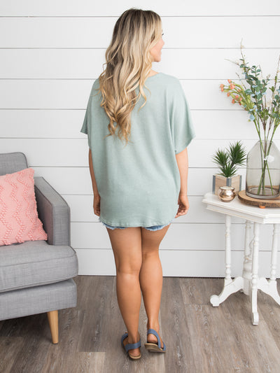 Love Is The Sweetest Thing Knot Top - Sage