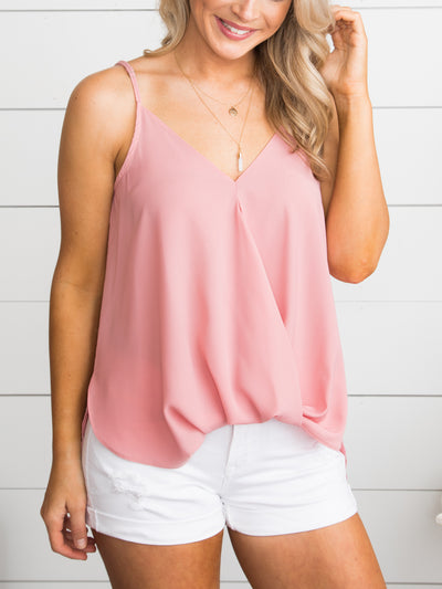 I Want You Forever Draped Tank - Blush