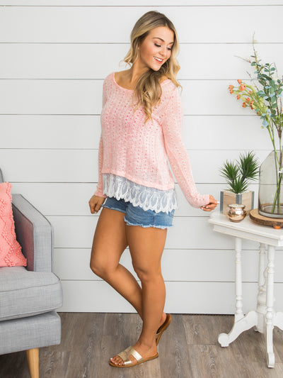 My Feelings Are Real Lace Top - Pink