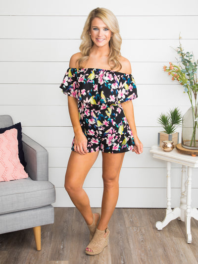 Cayman Beach Floral Romper - Black