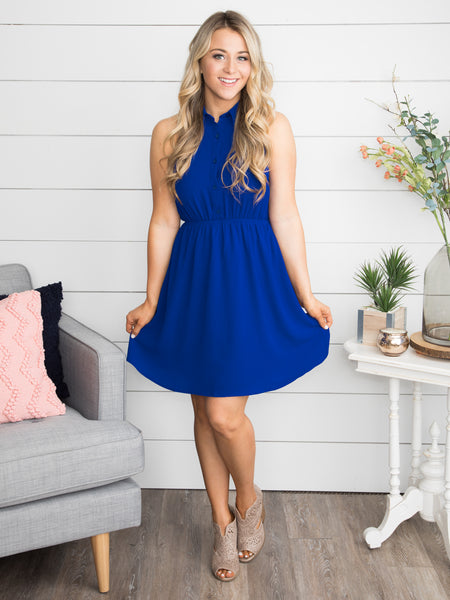 A Beautiful Sight To See Scalloped Dress - Cobalt