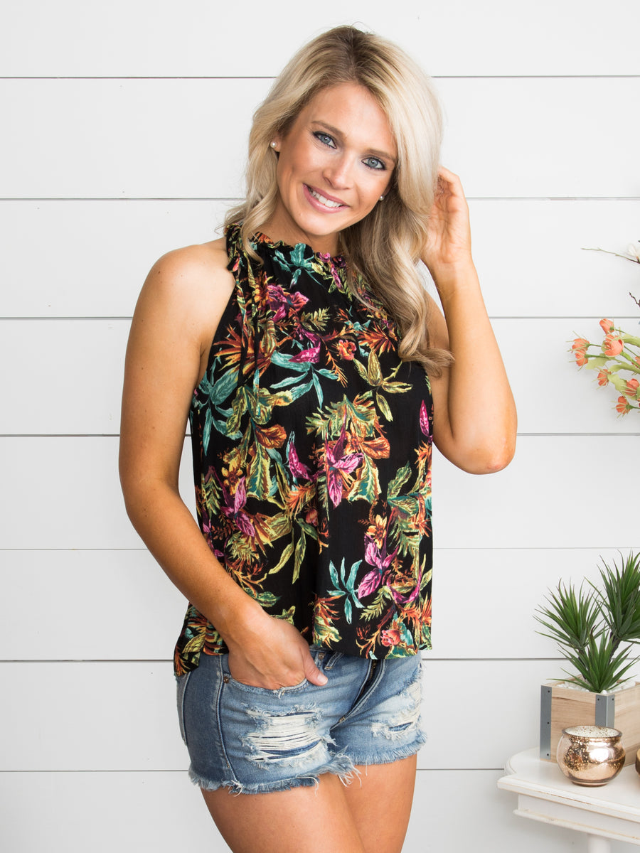 Happiness In Hawaii Halter Top - Black