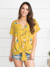 In Case You Didn't Know Floral Knot Top - Mustard