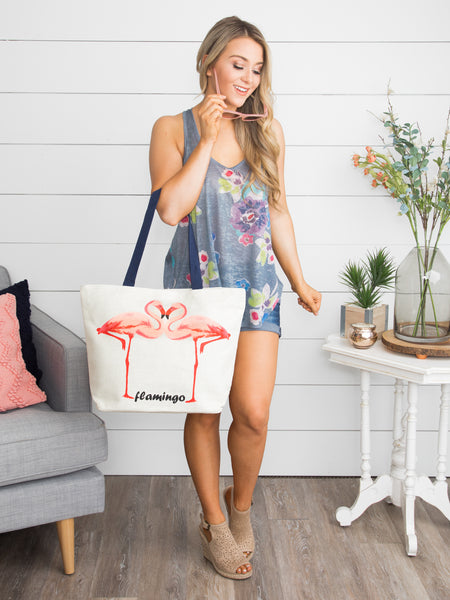 Fabulous Flamingo Tote Bag - Tan
