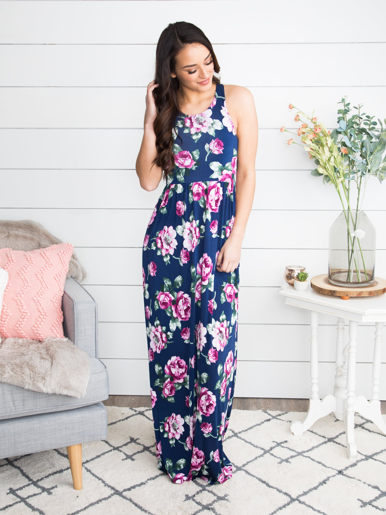 05cce7ec56 Destined For Drinks Floral Maxi - Navy - Eleven Oaks Boutique