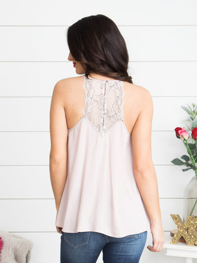 Your Heart And Mine Lace Tank - Dusty Rose