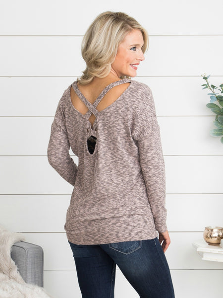 Leave A Message Cutout Top - Heather Mauve