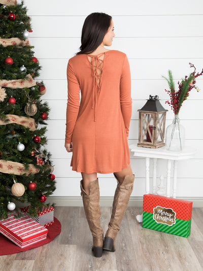 Can't Let You Go Lace Up Tunic Dress - Rust
