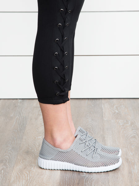 Running On Air Perforated Tennis Shoes - Grey