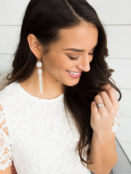 Sweetheart Tassel Earrings - Ivory