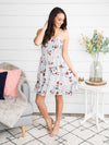 Next Time You See Me Floral Strapless Dress - Lt. Grey