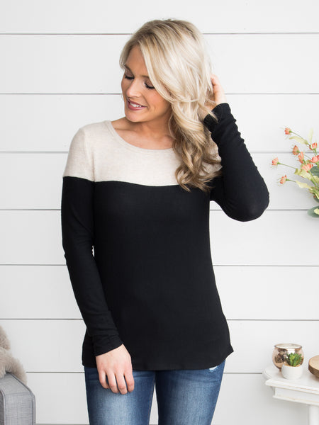 All The Good Times Color-Block Top - Black/Almond