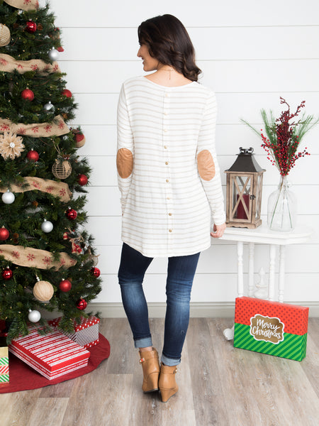 Softly Striped Button Back Tunic - Off White