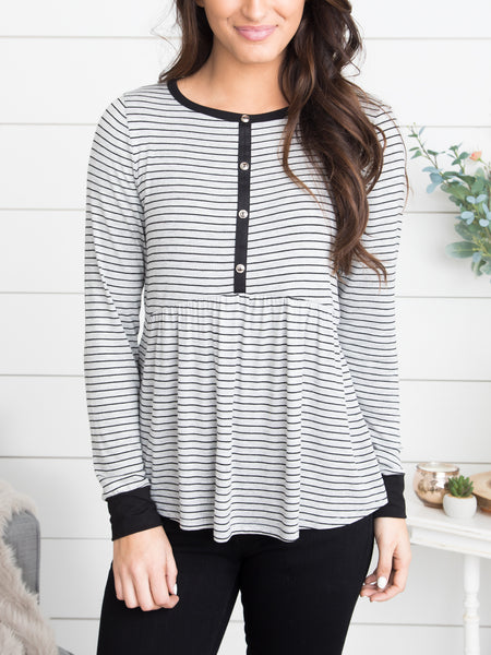 Do You Really Know Me Stripe Top - Grey