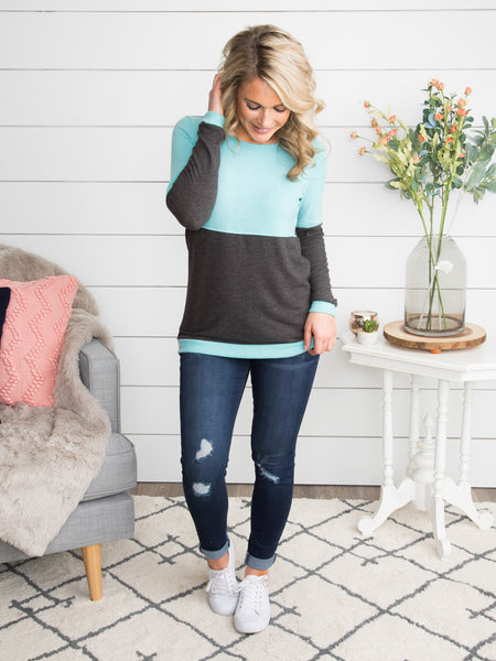 Believe It Or Not Color-Block Top - Charcoal/Aqua