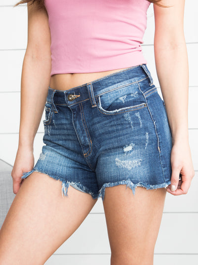Raquel Distressed Shorts - Dark Wash