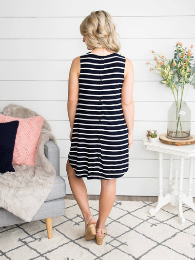 Brinn Button-Back Dress - Navy