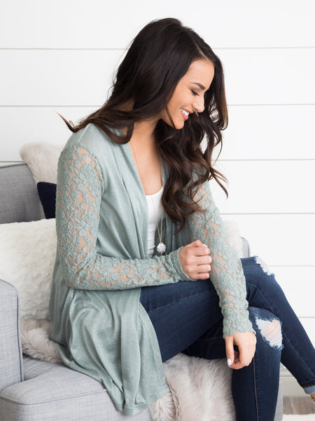 Love Like This Lace Cardigan - Sage