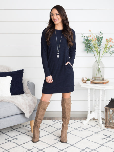 Loved By You Dress - Navy
